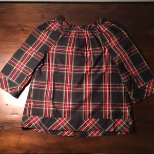 Crew Cuts girls Christmas plaid blouse Button back